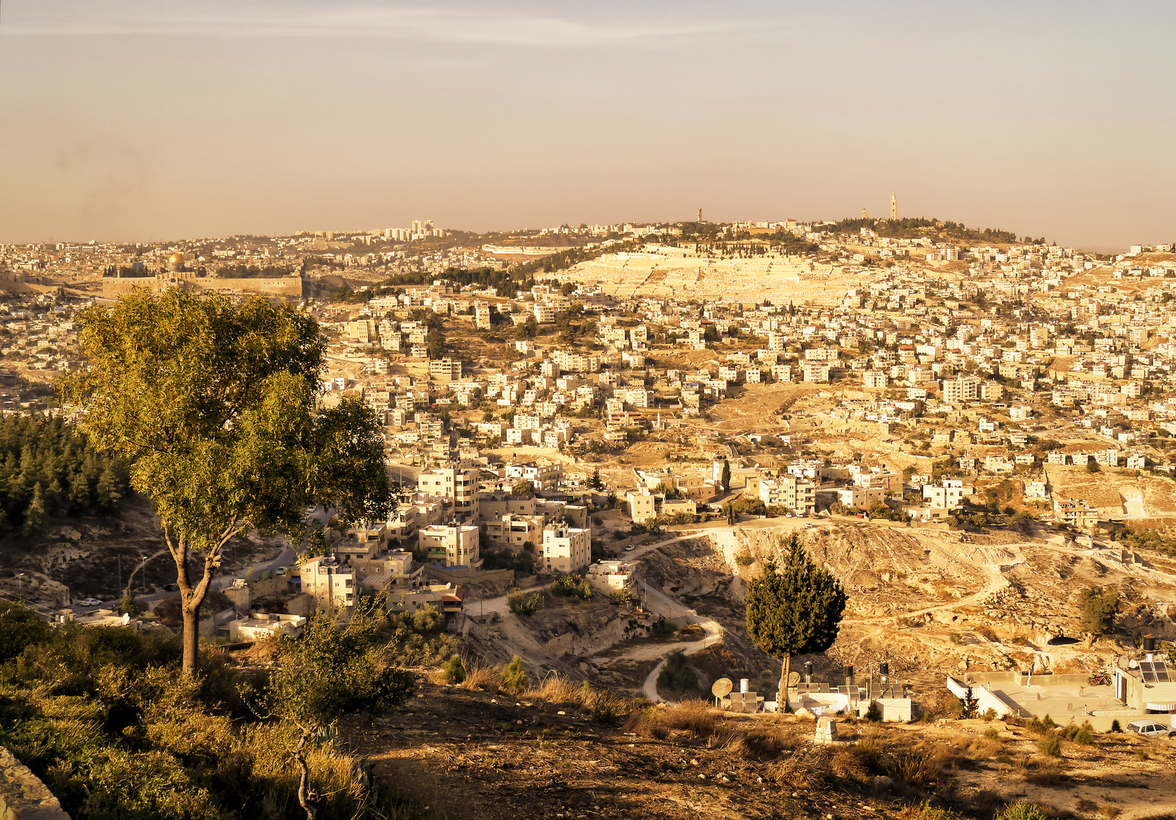 View of the Jerusalem, Old City and Mount of Olives
