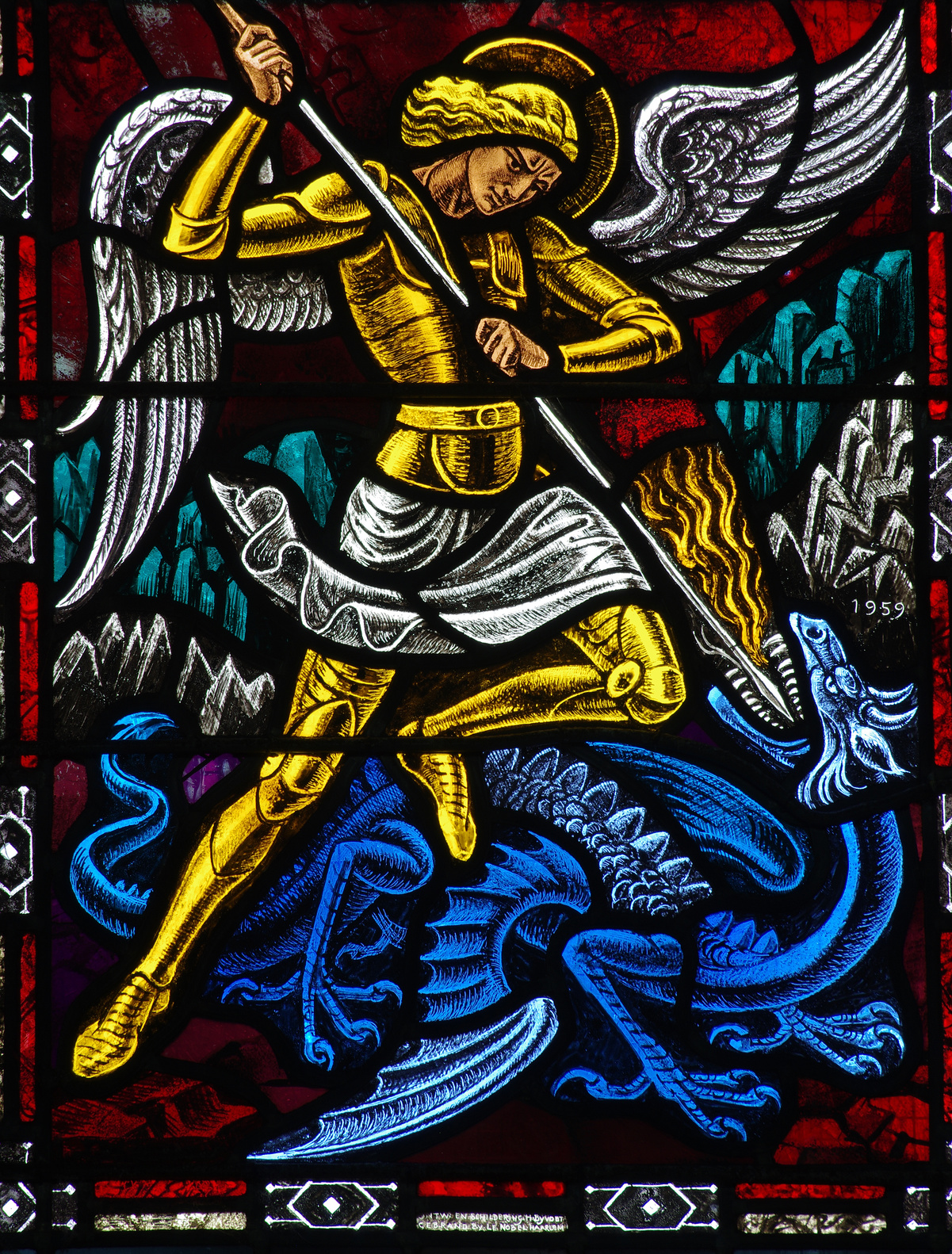 Angel Michael fighting a dragon