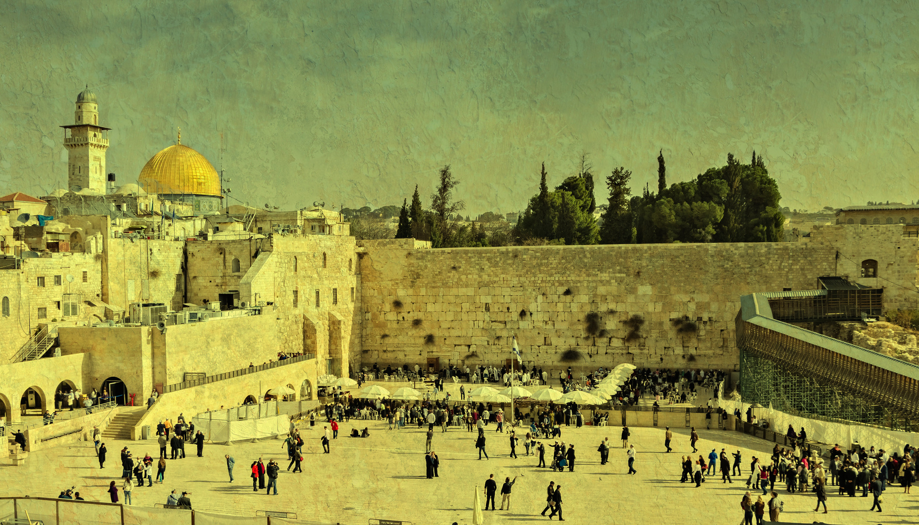 Western wall, Jerusalem. Image toned with vintage textured grunge background for inspiration of retro style