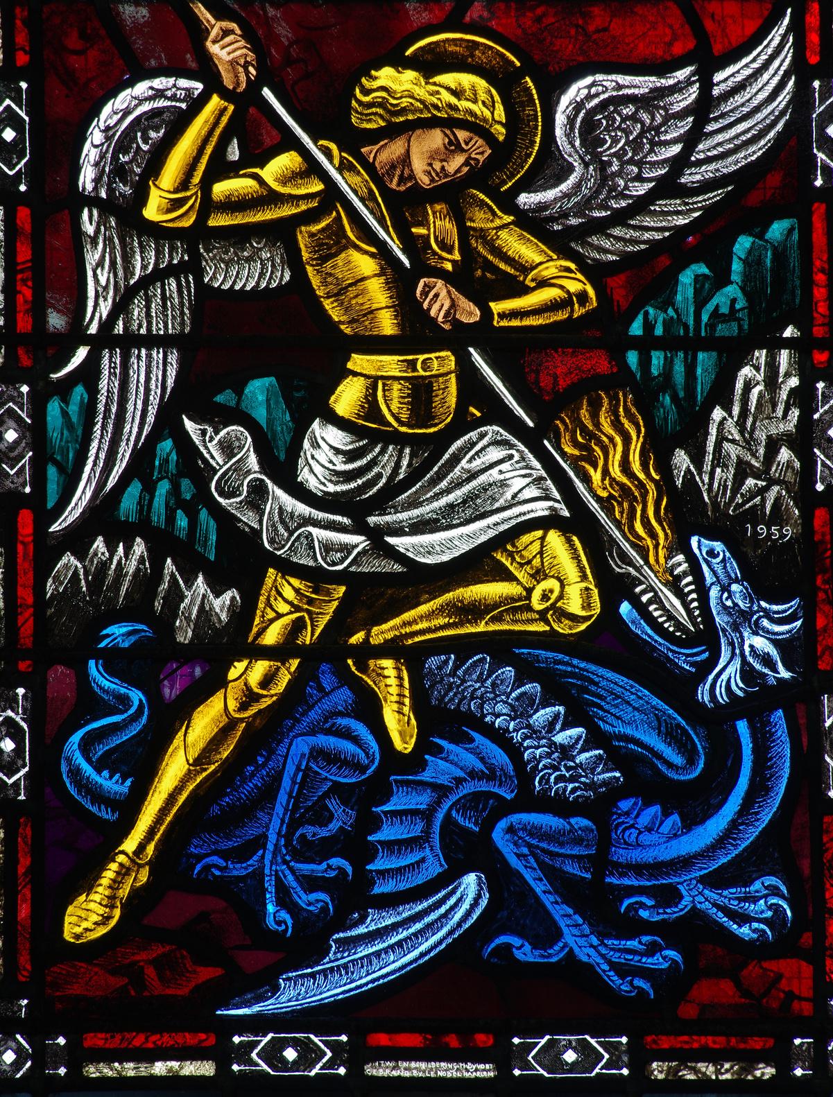 Angel Michael fighting a dragon